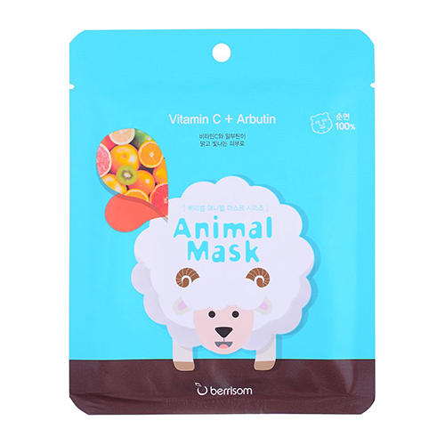 Тканевая маска с витамином С и арбутином Animal mask series Sheep 25 мл (Berrisom, Animal mask) berrisom g9 3d volume gum mask