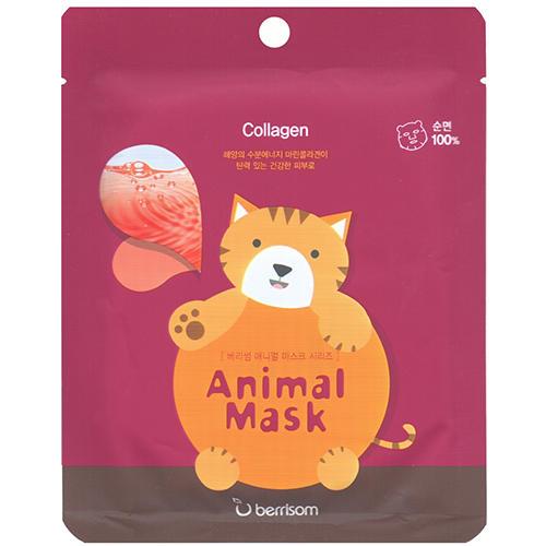 Тканевая маска с морским коллагеном Animal mask series Cat 25 мл (Berrisom, Animal mask) тканевая маска с муцином улитки animal mask series monkey 25 мл berrisom animal mask