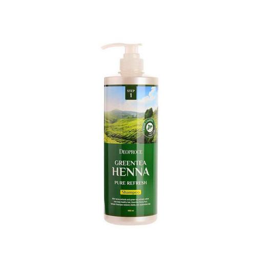 Шампунь для волос с зеленым чаем и хной 1000 мл (Deoproce, HAIR GREENTEA) кондиционеры для волос deoproce маска для волос с зел чаем и хной deoproce greentea henna pure refresh hair pack 1000мл