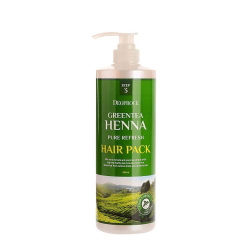 Маска для волос с зеленым чаем и хной 1000 мл (Deoproce, HAIR GREENTEA) кондиционеры для волос deoproce маска для волос с зел чаем и хной deoproce greentea henna pure refresh hair pack 1000мл