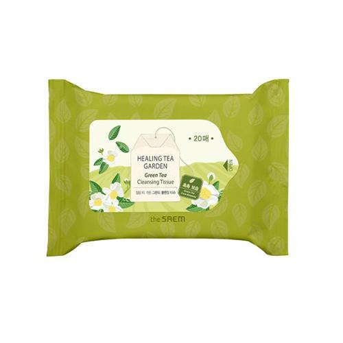 Фото - Салфетки очищающие с экстрактом зеленого чая Healing Tea Garden Green Tea Cleansing Tissue, 20 шт (The Saem, Garden Pleasure) tea garden