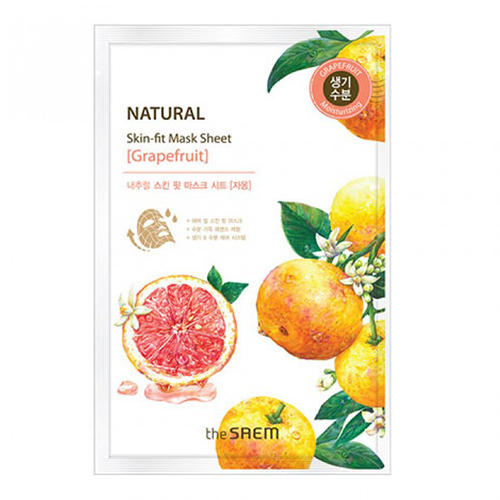 Маска тканевая грейпфрут Natural Skin Fit Mask Sheet Grapefruit, 20 мл (The Saem, Natural Skin Fit)