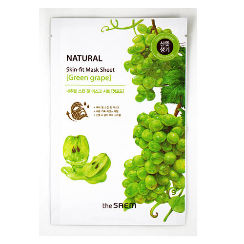 Маска тканевая виноград Natural Skin Fit Mask Sheet green grape, 20 мл (The Saem, Natural Skin Fit)