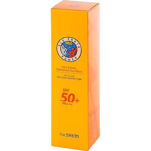 Крем солнцезащитный для лица и тела Eco Earth Power Face Body Waterproof Sun Block, 100 г (The Saem, Sun) крем для лица защитный 50 г the saem