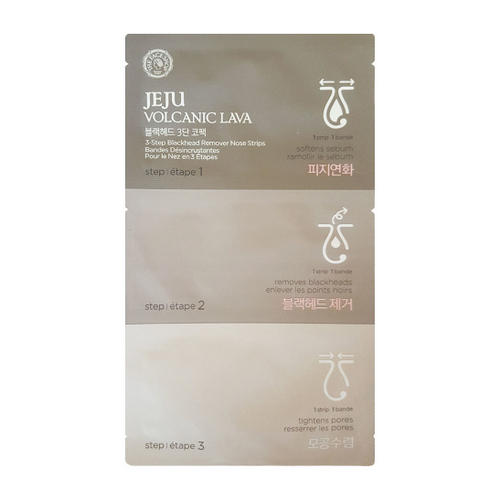 Набор от черных точек Jeju Volcanic Lava 3-step Deep Cleansing Nose Strips 1 шт (The Face Shop, Jeju) фото 0