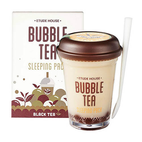 Маска ночная для лица с экстрактом черного чая Bubble Tea Sleeping Pack Black Tea, 100 г (Etude House, Bubble Tea) кислородная маска для лица caolion blackhead o2 bubble pore pack