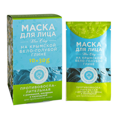 Дом природы Маска на основе крымской бело-голубой глины Противовоспалительная 30 г х 10 шт (Дом природы, Маски на основе бело-голубой глины) фото