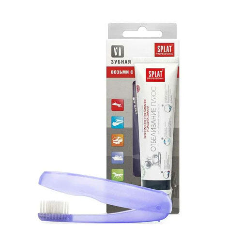 Splat Дорожный набор: Зубная паста Отбеливание плюс 40 мл + Складная щетка (Splat, Travel)