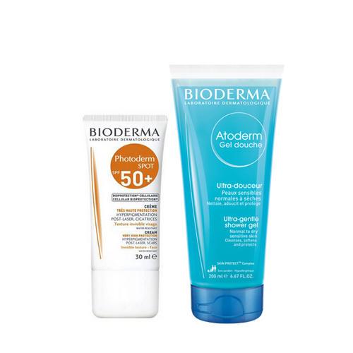 цены на Фотодерм набор Крем SPF Spot 50 30 мл Атодерм гель для душа мл (Bioderma, Photoderm)  в интернет-магазинах