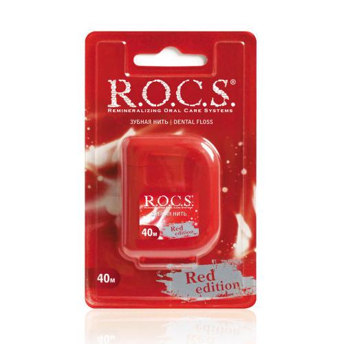 R.O.C.S Крученая расширяющаяся зубная нить Red Edition 40 м (Зубные нити)