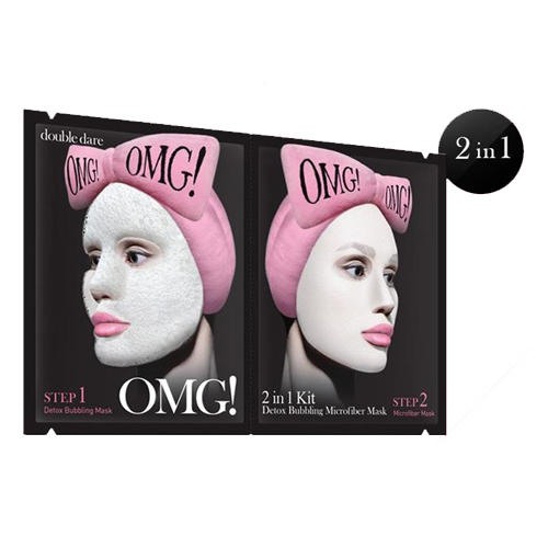 Detox Bubbling Microfiber Mask Маска двухкомпонентная для глубокого очищения и питания 5 шт. (Double Dare OMG, Double Dare) double dare omg маска четырехкомпонентная для ухода за кожей лица 4in1 kit zone system mask