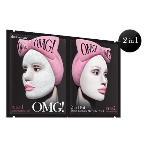 Detox Bubbling Microfiber Маска двухкомпонентная для глубокого очищения и питания кожи лица 1 шт. (Double Dare OMG, Double Dare) estelare ампульная маска для лица глубокое очищение и детоксикация 1 day