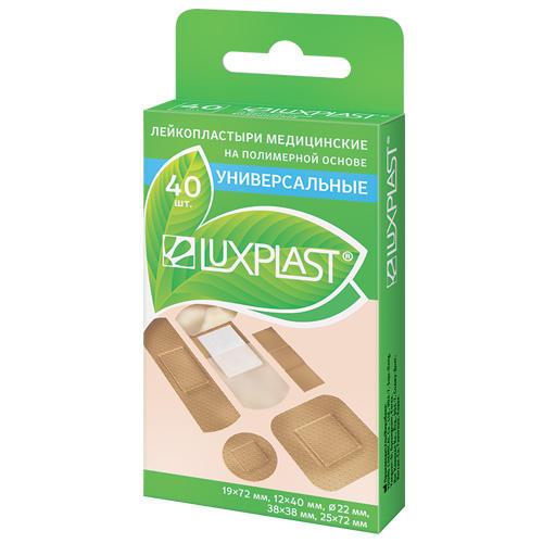 Пластырь универсальный на полимерной основе набор 40 шт (Luxplast, Пластырь) пластырь от сухих мозолей на полимерной основе набор 6 шт 15x70 мм luxplast пластырь