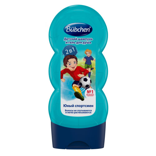 Купить Bubchen Детский шампунь и гель для душа Юный Спортсмен 2 в 1, 230 мл (Bubchen, Купание и умывание), Германия