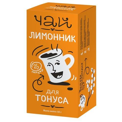 Чай Лимонник для тонуса. 25 пакетов по 2 г. Упаковка 50 г (Худеем за неделю, Леовит) батончик апельсин для тонуса упаковка 25 г худеем за неделю биоинновации