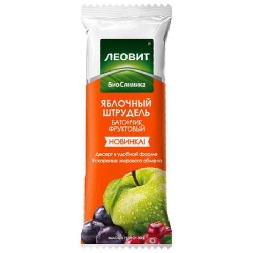 Худеем за неделю Батончик фруктовый Яблочный штрудель. Упаковка 30 г (Леовит)