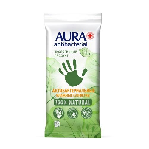 Купить Aura Влажные салфетки антибактериальные 20 шт (Aura, Влажные салфетки)