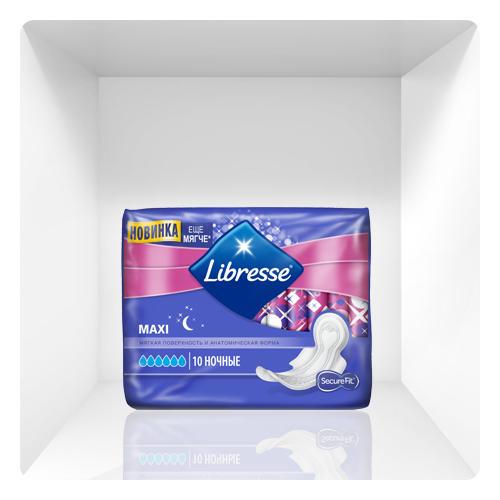 Прокладки Goodnight Maxi 10 штук (Libresse, Maxi) libresse прокладки женские гигиенические мaxi ночные 10 шт