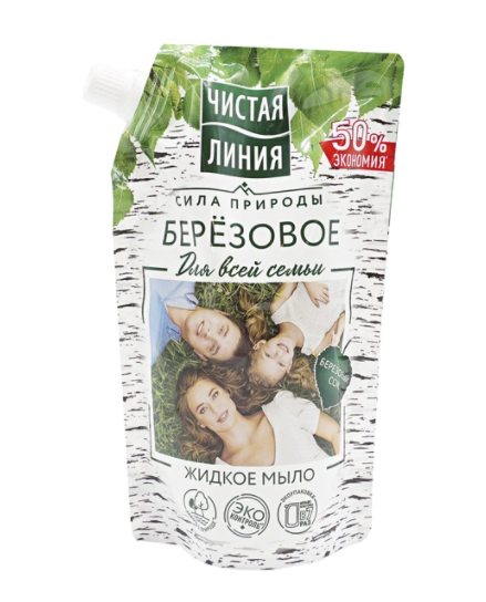Купить Чистая линия Жидкое мыло Березовое для всей семьи, 520 мл (Чистая линия, Уход за телом), Россия