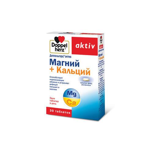 Магний Кальций таблеткидепо двухфазные 30 таблеток (Doppelherz, Актив) витамины solgar кальций магний цинк 100 таблеток