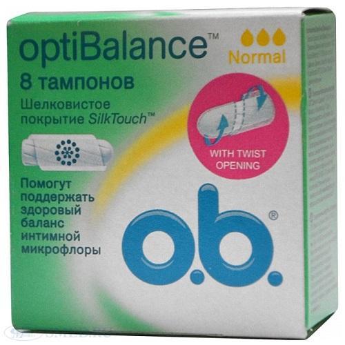 Тампоны Оптибаланс нормал 8 штук (O.B., OptiBalance)