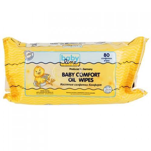 Baby line Масляные салфетки Комфорт 80 шт (Для тела)