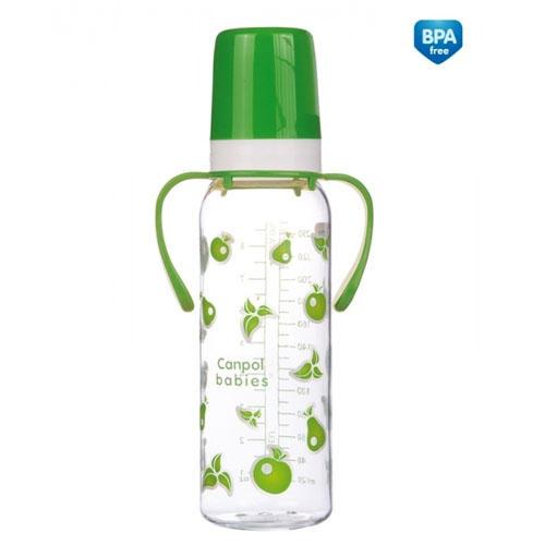 Бутылочка тритановая (BPA 0) с ручками с силиконовой соской, 250 мл. 12, 1 шт. (Canpol, Бутылочки) часы guess мужские