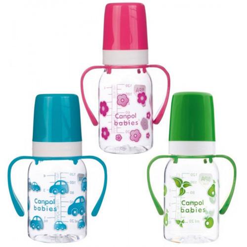 Canpol Тритановая бутылочка с ручками, силиконовой соской (BPA 0%) 3+, 120 мл (Бутылочки)