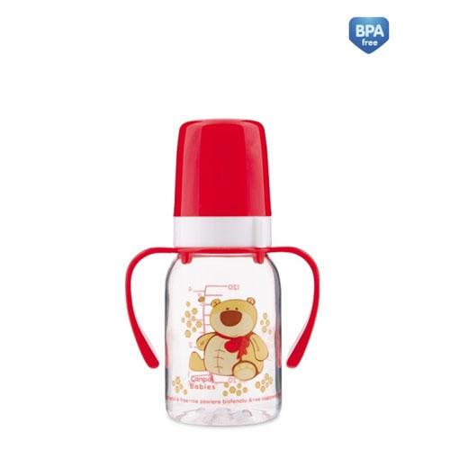 Бутылочка тритановая (BPA 0) с ручками с силиконовой соской, 120 мл. 3 Cheerful animals 1 шт. (Canpol, Бутылочки) цены онлайн
