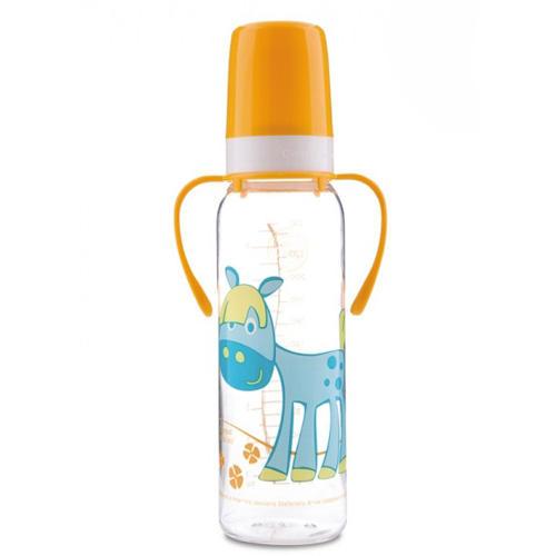 Canpol Тритановая бутылочка с ручками, силиконовой соской Cheerful animals  (BPA 0%) 12+, 250 мл (Бутылочки)