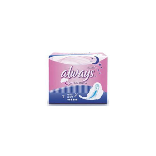 Прокладки Ультра сенситив найт 7 шт (Always, Ultra Sensitive) депенд прокладки для взрослых женские норм 7