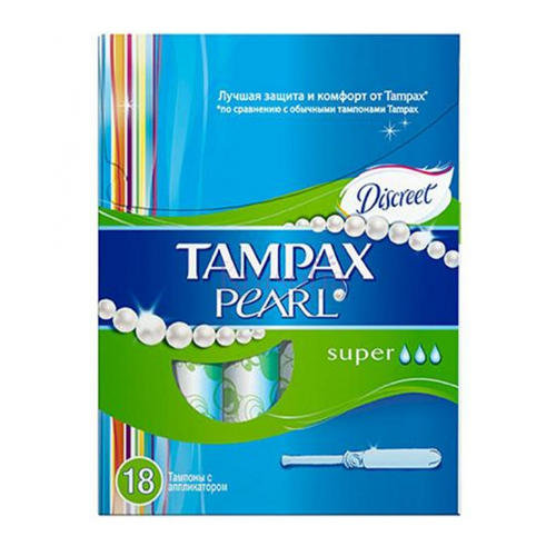 Tampax tampax discreet pearl тампоны женские гигиенические с аппликатором regular duo 18 шт