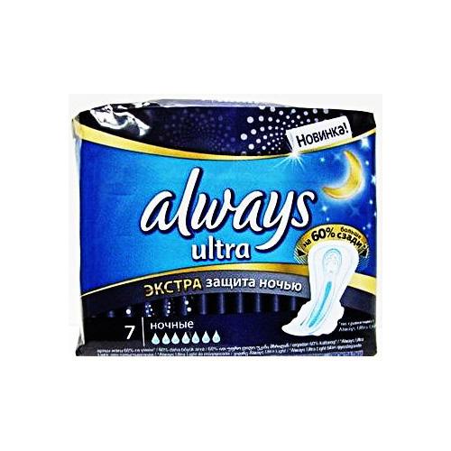 Always Прокладки Ультра найт экстра защита део сингл   7 шт (Always, Ultra)