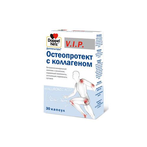 Фото - Остеопротект с коллагеном 30 капсул (Doppelherz, V.I.P.) гиалуроновая кислота doppelherz v i p с биотином q10 витамином с цинком капсулы 930 мг 30