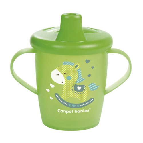 поильники Canpol Чашка-непроливайка, 250 мл. Toys 9+, цвет: зеленый (Canpol, Поильники)