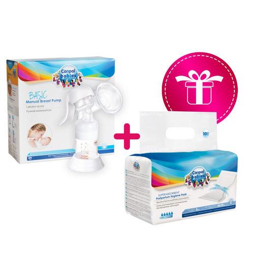 Набор 8 (молокоотсос ручной Basic и прокладки послеродовые дневные 10 шт. в подарок) 1 шт (Canpol, Товары для мам)