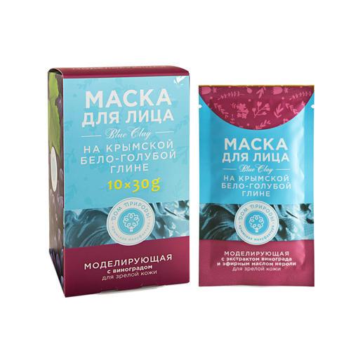 Дом природы Маска на основе крымской бело-голубой глины Моделирующая 30 г х 10 шт (Дом природы, Маски на основе бело-голубой глины) фото