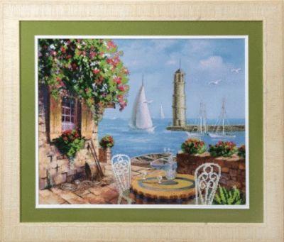 Б671 Кафе у моря чм (Чарiвна Мить, Чарiвна Мить) канва с рисунком для вышивания бисером hobby