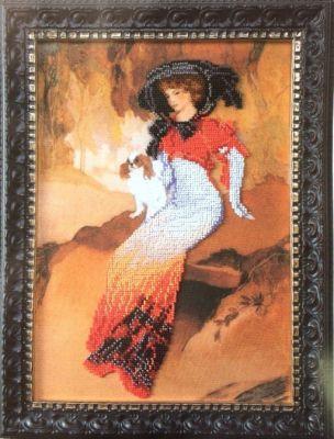 Б700 Дама с белым бленхеймом чм (Чарiвна Мить, Чарiвна Мить) канва с рисунком для вышивания бисером hobby