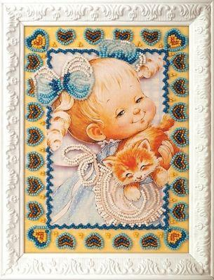 B504 Милый котенок (Кроше, Кроше) канва с рисунком для вышивания бисером hobby