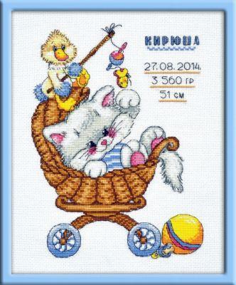 708 Метрика Котенок (Овен) (Овен, Овен) набор для вышивания крестом rto котенок с подарком 10 х 10 см