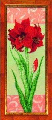 Б713 Гиппеаструм красный чм (Чарiвна Мить, Чарiвна Мить) канва с рисунком для вышивания бисером hobby