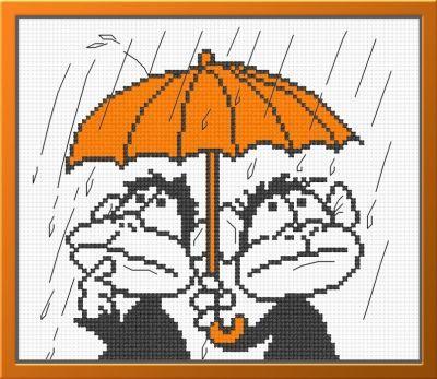 809 Обезьянки под зонтом (Овен) (Овен, Овен) 445 набор для вышивания под фонарем овен