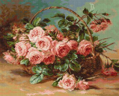 G547 Розы в корзине (LucaS) (LucaS, LucaS) набор для вышивания гобелена лебеди 17 6х22 см гобелен классик g 1135