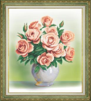 Б761 Кремовые розы чм (Чарiвна Мить, Чарiвна Мить) канва с рисунком для вышивания орхидеи 28 х 34 см 1316