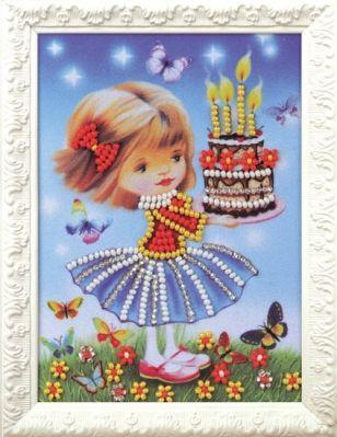 B514 Праздничный торт (Кроше, Кроше) канва с рисунком для вышивания бисером hobby