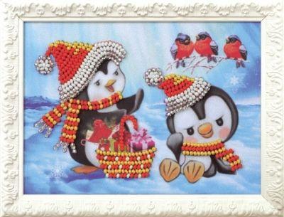 B524 Пингвины (Кроше, Кроше) канва с рисунком для вышивания орхидеи 28 х 34 см 1316