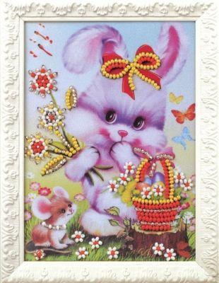 B518 Счастливый зайчик (Кроше, Кроше) канва с рисунком для вышивания орхидеи 28 х 34 см 1316