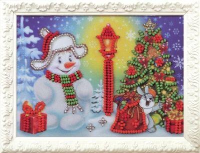 B522 Снеговик (Кроше, Кроше) канва с рисунком для вышивания бисером hobby