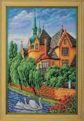 B277 Лебеди. Страсбург (Кроше, Кроше) канва с рисунком для вышивания бисером hobby